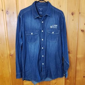 Antigua Utah Jazz Chambray Shirt